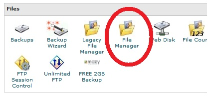 bluehost file manager icon