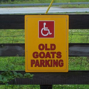goats on the roof parking sign