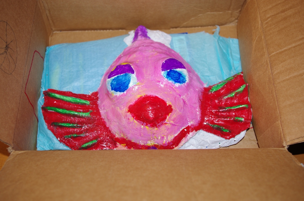 fish in box, white elephant gift, kids art