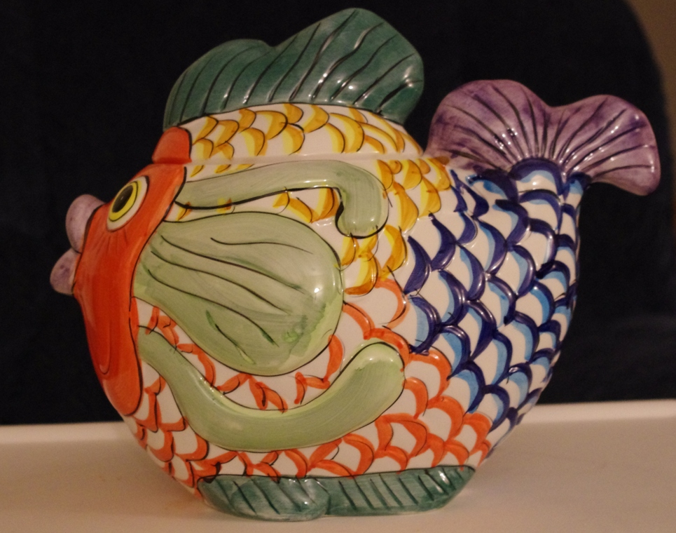 fish cookie jar, cookie jar, ugly cookie jar