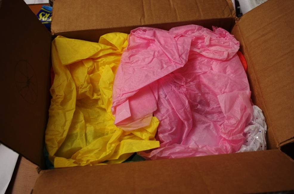 tissue paper, white elephant gift