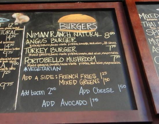 cafe bernardo, burger menu, sacramento