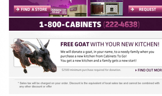 Free goat with cabinet purchase