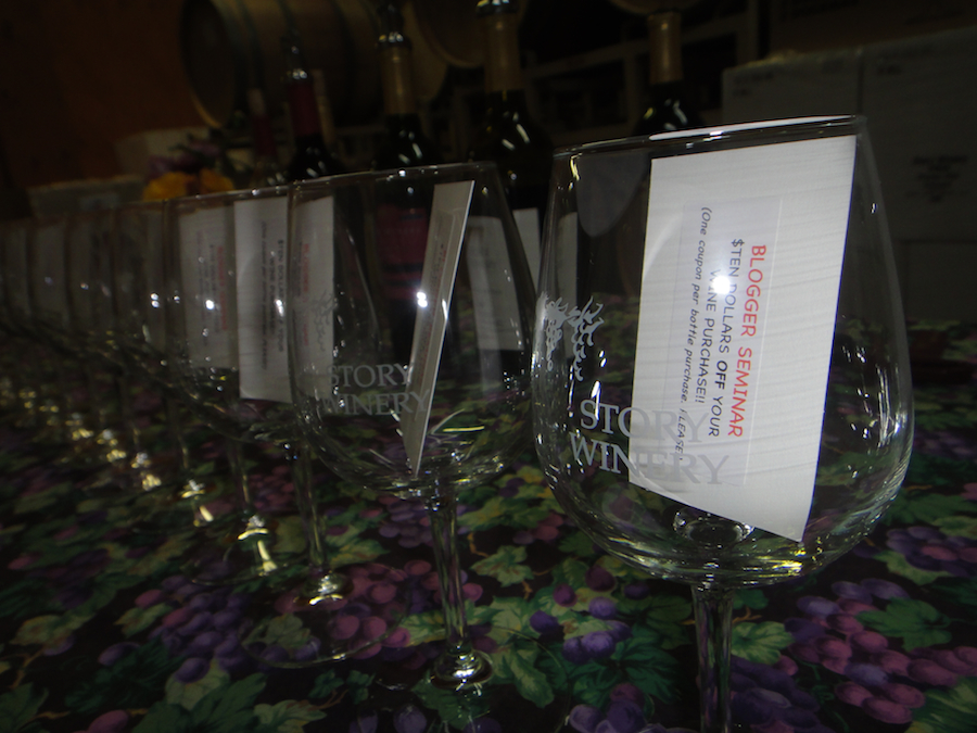 story winery, wine glasses