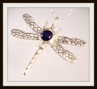 amethyst dragonfly necklace, jewelry by north