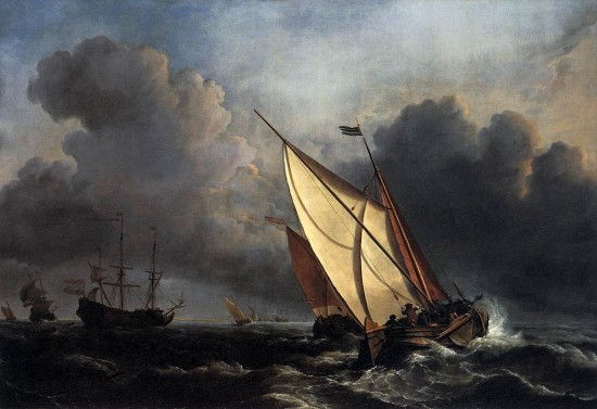 willem van de velde, ships on a stormy sea