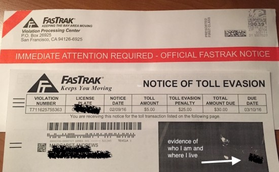 fastrak, toll evasion, toll violation, bridge toll