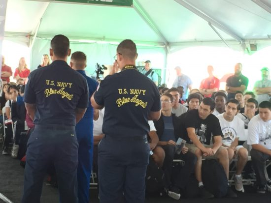 blue angels with STEM students