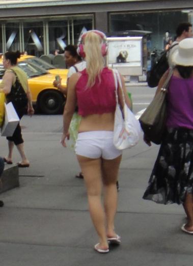 NYC girl pink headphones